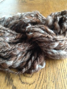 Hand blended red-brown alpaca with white wool